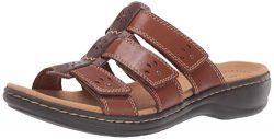 CLARKS Women's Leisa Spring Sandal, Brown Multi Leather, 90 M US