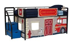 DHP Junior Black Metal Loft Bed with Blue Storage Steps and Fire Department Curtain Set, Kids Be ...