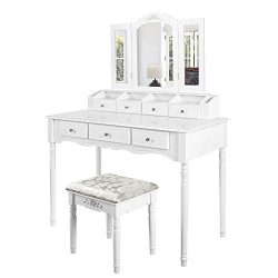 M&W Makeup Vanity Table Set with Tri-Folding Mirror, Dressing Table and Cushioned Stool with ...