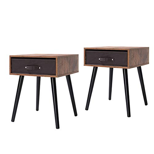 IWELL Mid-Century Nightstand Set of 2, Wooden End Table with Drawer, Side Table for Small Spaces ...