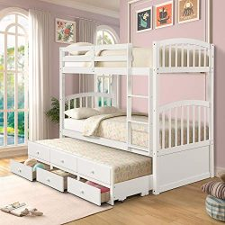 Twin Over Twin Bunk Bed with Safety Rail, Ladder, Twin Trundle Bed with 3 Drawers for Kids, Teen ...