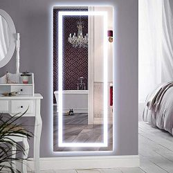 QiMH Vertical 47×22 Inch Wall Mounted LED Lighted Vanity Mirror with Aluminum Frame Backlit ...