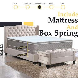 10-Inch Medium Plush Eurotop Pillowtop Innerspring Mattress And 4-Inch Fully Assembled Wood Boxs ...