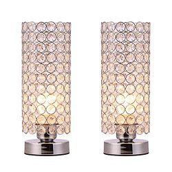 Riomasee Crystal Table Lamps,Modern Nightstand Decorative Desk Lamp,with Clear Crystal Beads Bed ...