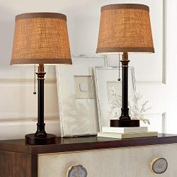 Oneach Maria Rustic Table Lamp Set of 2 Bedside Desk Lamp Reading Table Lamp Sets for Bedroom Li ...