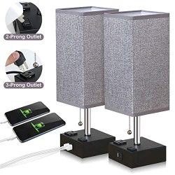 ZEEFO USB Table Lamp, Gray Square Fabric Shade Bedside Table Lamp with Two AC Outlet & Fast  ...