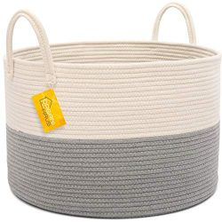 OrganiHaus XXL Extra Large Cotton Rope Basket | 20″x13.5″ Blanket Storage Basket wit ...
