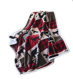 Virah Bella Lodge Life Flannel Throw Blanket with Sherpa Backing 50′ X 60′