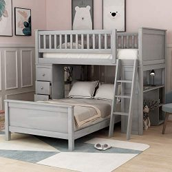 Twin-Over-Twin Bunk Bed for Kids, Loft System & Twin Bed Set with Desks, Drawers and Ladder, ...