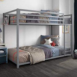 DHP 4303419 Miles Twin Metal Bunk Bed, Kid's Bedroom, Space-Saving Design, Silver