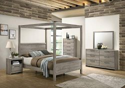 Kings Brand Furniture – Harley 6-Piece King Size Bedroom Set, Light Grey. Bed, Dresser, Mi ...