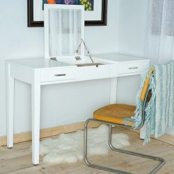 Hives and Honey 6006-099 Ainsley Vanity Desk, 30″ x 46″ x 20″, Crisp White