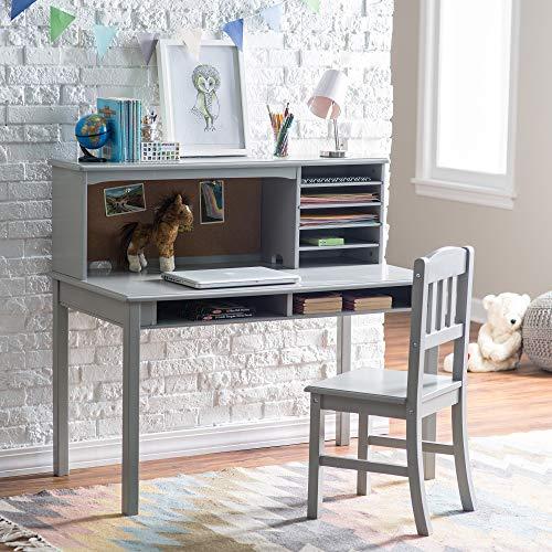 Guidecraft Children's Media Desk and Chair Set Gray: Student Study Computer Workstation, W ...