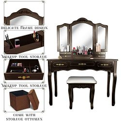 Vanity Beauty Station,Tri-Folding Necklace Hooked Mirrors,6 Organization 7 Drawers Makeup Dress  ...