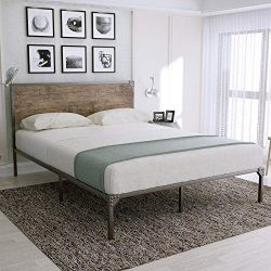 Urest Industrial Full Size Bed Frame with Headboard/Metal Platform Bed Frame/Mattress Foundation ...
