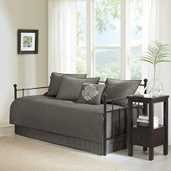 Madison Park Quebec 6 Piece Reversible Daybed Cover Set, Dark Grey