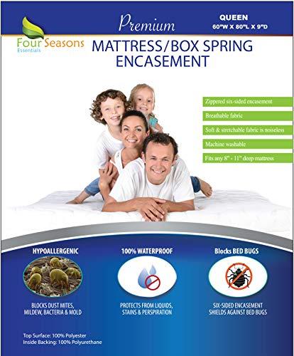 Zippered Queen Mattress/Box Spring Protector (8″-11″ Depth) – Bed Bug Waterpro ...