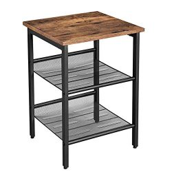 VASAGLE Industrial Nightstand, End Table with 2 Adjustable Mesh Shelves, Side Table for Living R ...