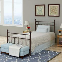 Metal Bed Platform Frame with Steel Headboard and Footboard Mattress Foundation Bedroom Furnitur ...