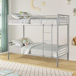 Merax Twin Over Twin Metal Bunk Bed with Removable Ladder for Kids/Teens/Children/Adults, Silver
