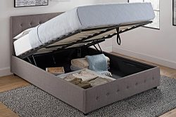 DHP Cambridge Upholstered Linen Platform Bed with Wooden Slat Support and Under Bed Storage, But ...