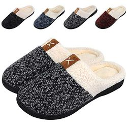 Women's Memory Foam Slippers Comfort Wool-Like Plush Fleece Lined House Shoes for Indoor & ...