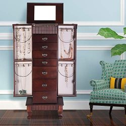 GentleShower Jewelry Cabinet with Mirror Jewellery Box Organizer Wooden Jewelry Storage Armoire  ...