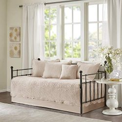 Madison Park Tuscany 6 Piece Reversible Scalloped Edge Daybed Cover Set, Blush