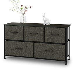 Dresser with 5 Drawers, Extra Wide Dresser Storage Tower, Storage Organizer Unit for Bedroom, Ha ...