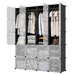 KOUSI Portable Closet Wardrobe Closet Room Closet with Doors Wardrobe with Storage Wardrobes for ...