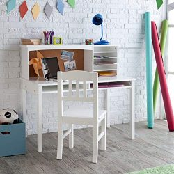 Guidecraft Children's Media Desk and Chair Set White: Student Study Computer Workstation,  ...