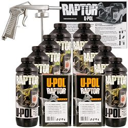 U-Pol Raptor Black Urethane Spray-On Truck Bed Liner Kit w/Free Spray Gun, 8 Liters