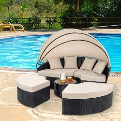 Walsunny Patio Furniture Outdoor Lawn Backyard Poolside Garden Round Round Daybed with Retractab ...