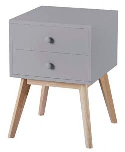 Grey Finish Nightstand Side End Table with Two Drawer 22.5H