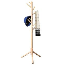 Neasyth Kid's Wooden Coat Rack, Free Standing Tree Hanger 8 Hooks Organizer Furniture in L ...