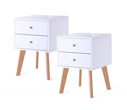 TaoHFE White Nightstand Bedroom Night Stand End Table Side Table Coffee Table with 2 Drawers, Wo ...