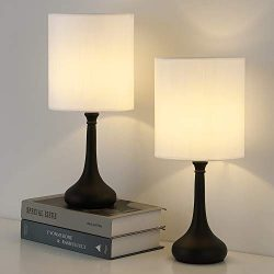 RZChome Small Table Lamps – Vintage Nightstand Lamps Set of 2, Bedside Desk Lamps for Bedr ...