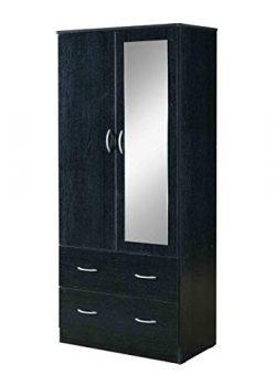 Hodedah HI882 Door 2-Drawers, Mirror and Clothing Rod in Black Armoire