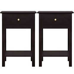 Yaheetech Bedside Table Nightstand End Side Sofa Table with Drawer Storage Shelf for Bedroom, Se ...