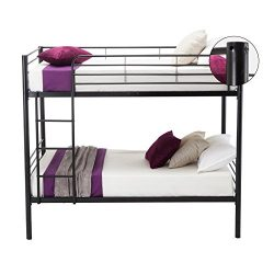 Leadzm Twin Over Twin Metal Bunk Bed with Metal Frame and Ladder for Kids Bedroom,Box Spring Rep ...