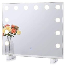 Dimmable Lighted Bathroom Mirror for Wall with 3 Color Changing, Hollywood Vanity Mirror with Li ...