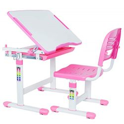 VIVO Pink Height Adjustable Children's Desk and Chair Set | Kids Interactive Workstation ( ...