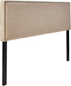 Ravenna Home Haraden Modern Rectangular King Headboard with Nailhead Trim, 82″W, Beige