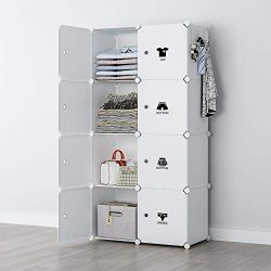 YOZO Modular Wardrobe Portable Clothes Closet Chest Drawer Polyresin Storage Organizer Bedroom A ...