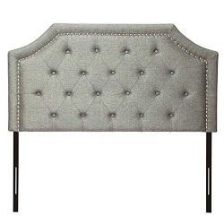 HOME BI Contemporary Linen Fabric Upholstered Headboard Full/Queen Size with Nailheads, Dark Grey