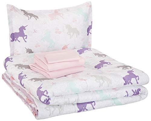 AmazonBasics Easy-Wash Microfiber Kid's Bed-in-a-Bag Bedding Set – Twin, Purple Unicorns