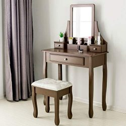 Mecor Vanity Table Set, Wood Makeup Vanity with Cushioned Stool&3 Drawers,Girls Women Bedroo ...