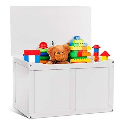 Costzon Toy Storage Chest Organizer, Wooden Toy Box with 2 Safety Hinge & Lid for Kids (White)