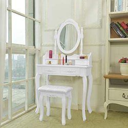 shamoluotuo Makeup Vanity Table Set w/Cushoined Stool & Oval Mirror Ottoman Frame, Wood Dres ...