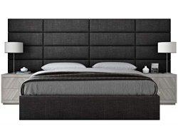 Vänt Upholstered Wall Panels – Queen/Full Size Wall Mounted Headboards – Cotton Weav ...